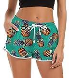Rave on Friday Damen Badeshorts Sommer 3D Ananas Druck Kurze Badehose Schnell Trocknendes Schwimmhose Strand Gym Boardshorts mit Taschen, M