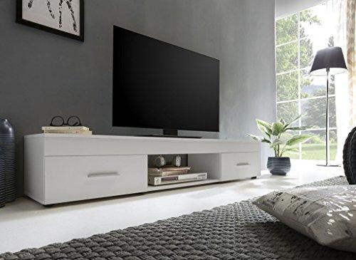 Dreams4Home TV-Lowboard 'Riolo III' - Schrank, TV-Möbel, Phono Möbel, Lowboard, Kommode, Aufbewahrung, B/H/T: 160 x 31 x 33 cm, 2 Schubladen, 1 offenes Fach, in Beton/weiß oder weiß, Farbe:Weiß