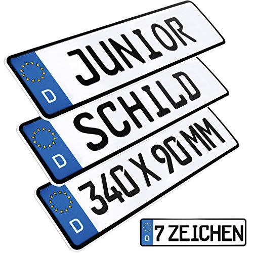 L & P Car Design 1 Stück Kennzeichen Junior-Schild 34cm x 9cm Farbwahl Bohrung Wunschtext Wunschkennzeichen Wunschprägung Namensschild Bobbycar Kettcar Fun Schild