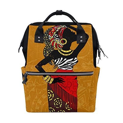 MERRYSUGAR Diaper Bag Backpack African Women Yellow Baby Bag School Backpack Mommy Bag Large Multifunction Travel Bag