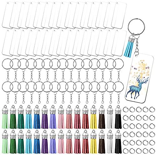 Linkstyle 120 Stücke Quaste Schlüsselanhänger Set,15 Farben Quasten & transparente Rohlinge mit Löchern & Schlüsselringen & Biegeringen für DIY-Projekte Geschenk(30 Sätze)