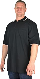 Kam Big Mens Black Houston Cotton Long Pique Polo Shirt for Sizes 2XL 3XL 4XL 5XL 6XL 7XL 8XL