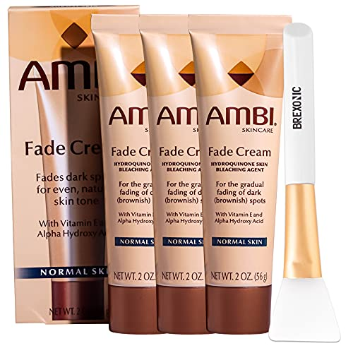 3 Pk Ambi Skincare Fade Cream Vitamin E Cream Helps Reduce Dark Spots & Blemishes, Hyperpigmentation Treatment & Acne Scar Treatment for Face, Dark Spot Corrector for Normal Skin with Brexonic Applicator Brush (2 Oz)