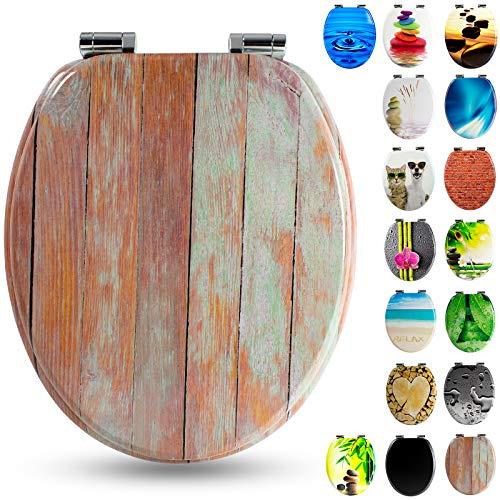 Tapa de WC con núcleo de madera con descenso automático de Sanfino, alta calidad y muchos motivos, asiento cómodo, montaje fácil con instrucciones incl. W1032C Blue Wood