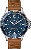 Timex Men's Sport Expedition Ranger Solar 43mm Leather Strap Watch, Blue Dial, Brown