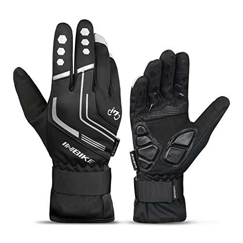 INBIKE Cycling Winter Gloves,for Men Windproof Reflective Thermal Gel Pads Touch Screen MTB Mountain Bike Black Large