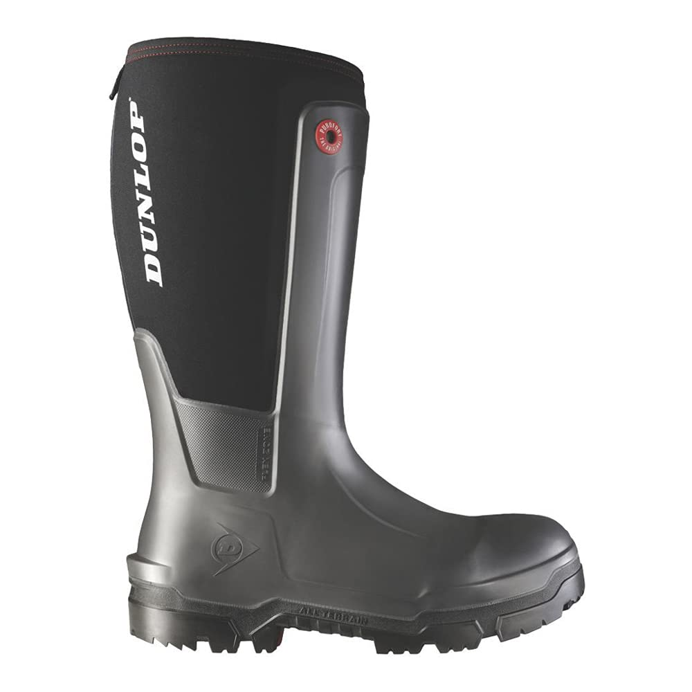 Dunlop NE68A9307 Snugboot WorkPro Full Safety with Protective Composite Toe and Midsole, 100% Waterproof, Charcoal/Black, Men Size 7/Women Size 9