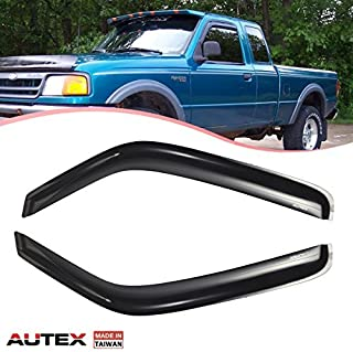 AUTEX Tape On Window Visor Guards Deflectors Compatible with Ford Ranger Reg Cab 1993 1994 1995 1996 1997 1998 1999 2000 2001