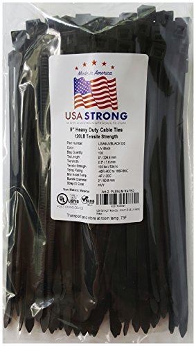 Heavy Duty Cable Zip Ties. Durable strong nylon tie wraps, 120 LB Tensile Strength (9 Inch 100 Pack, UV Black)