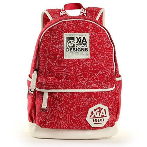 Sincere® Fashion Backpack / Zipper Sacs à dos / rue mode / sac multifonction / Canvas / sac à bandoulière casual / extérieur sac à dos rouge