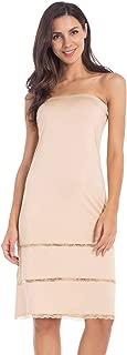 Women's Tube Top Dress Slip Strapless Midi Underdress Sleeveless Invisible Straps