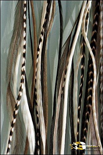 """Grizzly-extensions Extension à clipser en plumes extensions """"Black and White pour cheveux noirs"""