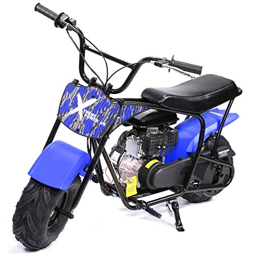 XtremepowerUS Pro-Series 80cc Off Road Dirt Bike 4-Stroke Kids Dirt Mini Kid Gas-Powered Dirt Bike Off Road Dirt Bikes Trail Mini Bike, Blue
