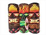 All Seas Imports Set of (3) Wooden Handcarved 12' Tall Tiki Masks Tropical Wall Decor!