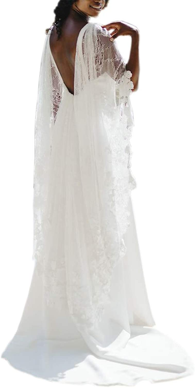 Mauwey Women's New Elegant Open Back Bat Sleeves VNeck Beach Wedding Dresses Bridal Gowns Plus Size