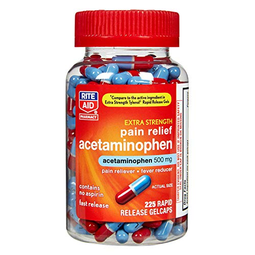 Rite Aid Extra Strength 500 mg Acetaminophen Pain Relief, Rapid Release Gelcaps - 225 Count | Pain Reliever, Joint Pain Relief | Muscle Pain Relief | Arthritis Pain Relief | Back Pain Relief Products