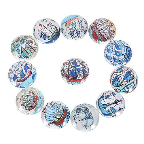 Encoco - Cabujones de cristal con diseño de mosaico, 20 unidades, varios colores, mitad redondos, con mosaico, para hacer joyas, colgantes de fotos, diseño de barco de vela azul, Color, 18 mm