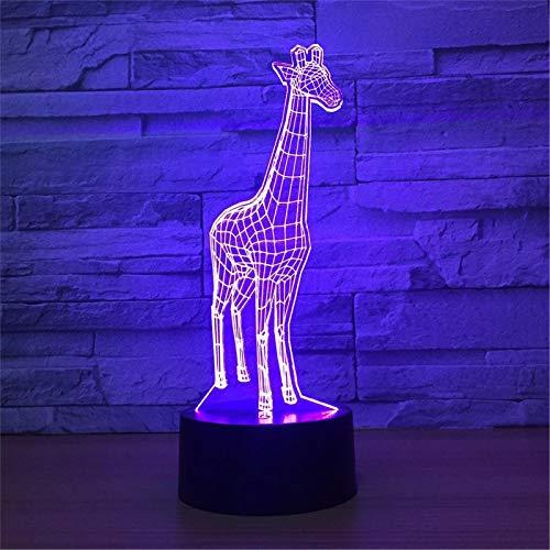 LBJZD luz de noche Lámpara 3D Jirafa 7 Colores Lámparas De Noche Led Rgb Para Niños Lámpara De Mesa Usb Led Táctil Lámpara De Noche Para Dormir Para Bebés Novedad Sin Mando A Distancia