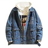 Azruma Herren Jeansjacke Freizeit Style Jeans Jacket Blue Denim Jacke Blau Winterjacke Lose Fit Jeansjacke Plus Größe Bomberjacke Steppjacke Wintermantel Schnalle Jacke Mantel Denim Jacke