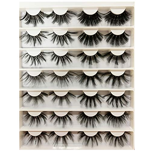 DAODER Lashes 25mm 14 Pairs Variety 25 mml Faux Mink Eyelashes Bulk Dramatic Long Thick Fluffy Big False Eyelashes Pack for Bold Eye Makeup