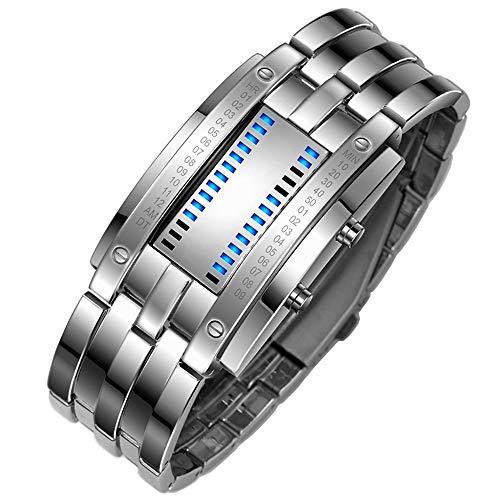 TONSHEN Binario Reloj Deportivos Acero Inoxidable Bisel Y Correa Moda Relojes de Pulsera Calendario El Unico Diseño Simple Digitales LED Azul Luz Cool Relojes (Hombre)