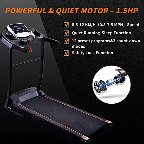 Folding Electric Treadmill for Home Use Motorised Running Machine with LCD Console 1.5 HP Motor 12 Programmes Anti-slip Belt USB Walking Machine Portable Gym Equipment for Fitness Workout [UK STOCK]