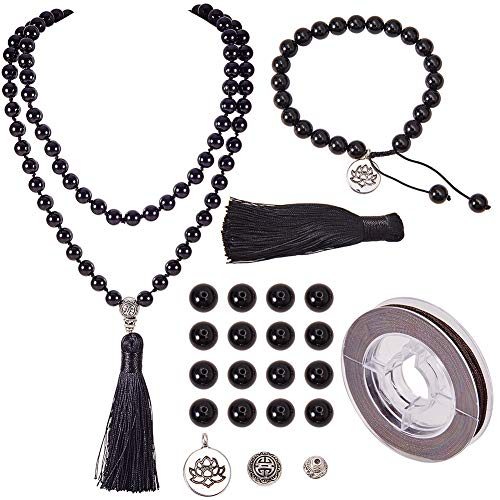 SUNNYCLUE DIY 1 Set 108 Malaysia Jade Gemstone Mala Beads/Buddha Beaded Necklace Jewelry Making Kit - Make 1 Hand Knotted Prayer Tassel Pendant Necklace & 1 Adjustable Mala Wrap Beaded Bracelet