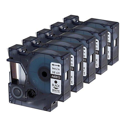Cinta oozmas compatible para usar en lugar de Dymo 9mm x 7m 40913 Negro sobre Blanco, Impresión de Etiquetas compatible Dymo Label Manager 160 210D 260P 280 360D 420P 450D Rhino 4200, pack de 5