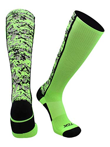 TCK Digital Camo OTC Socks (Neon Green/Black, Medium)