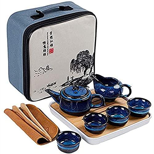 Juego de té de cerámica de estilo chino de estilo chino bellamente portátil con tetera de té de té de té, bandeja de té, bandeja de té y bolso de viaje para viajes,