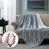 Hyde Lane Faux Fur Electric Throw | Premium Chocolate 50x60 Soft Electric Blanket | Fuzzy, Pilling Resistant Heating Throw | 3 Heat Settings | Auto-Shutoff | Machine Washable