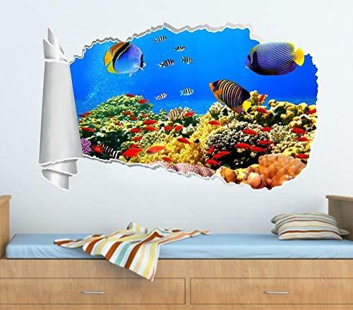 HQSM Pegatinas de pared Tropical fish 3d torn hole wall sticker decal art deco