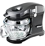 Kenmore Elite Ovation 5 Qt Stand Mixer, 500 Watts, with Revolutionary Pour-In Top, Tilt Head, Flat Beater, Whisk, Dough Hook, 360-degree Splash Guard, Glass Bowl, LED Light, Metallic Grey