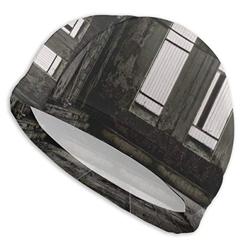 Swimming Cap Elastic Swimming Hat Diving Caps,Vintage Style Grunge Floor Walls and Windows Messy Aged Wrecked Workshop,For Men Women Youths