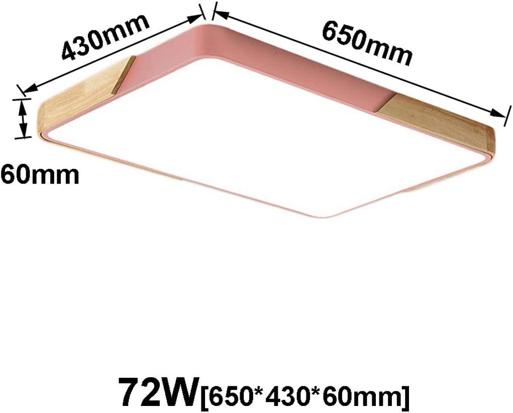 BFYLIN 72W Holz LED Dimmbar Deckenleuchte Deckenlampe Wohnzimmer Lampe Schlafzimmer Küche Panel Leuchte Energie Sparen Licht minimalistischer Stil+FB (Eiche-Weiß-72W Dimmbar) Eiche-rosa-72w Dimmbar
