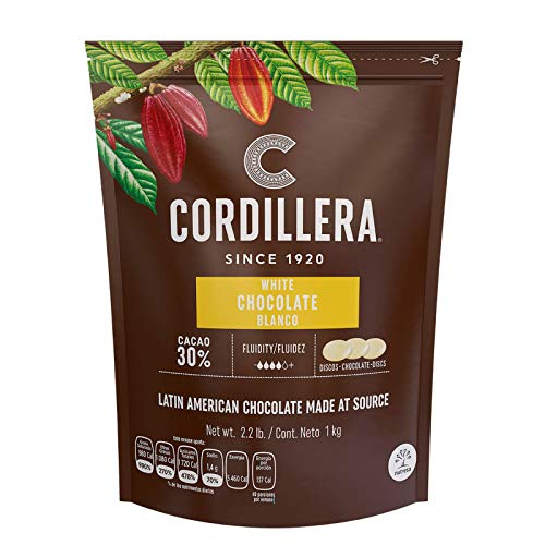 Cordillera | White Chocolate Couverture | Cacao 30% | 2.2 Lb, Pack of 1 | Latin America Chocolate | Real & Sustainable Chocolate | High Fludity