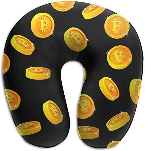 Almohada de Espuma viscoelástica para el Cuello, rotación de Monedas Bitcoin, Digital, en Forma de U, diseño ergonómico, Contorneado, Lavable, Funda para avión, Tren, autobús, Oficina