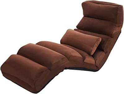Giantex Folding Lazy Sofa Chair Stylish Sofa Couch Beds Lounge Chair W/Pillow (Coffee)