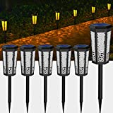 Solar Powered Pathway Lights,2 Modes [Amber Light & RBG 7 Color Changing] Waterproof Solar Landscape Light Outdoor Garden Decorative Led Lighting for Path Yard Patio Driveway Walkway Lawn Decor 6 Pack
