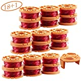 YUEFENG 18 Pack String Trimmer Replacement Spools for Worx WA0010 WG180 WG163 WG175 Electric Trimmer/Edger Weed Eater Line 10ft 0.065'+ 1 Pack Spool Cap Covers (18 Spools, 1 Caps)