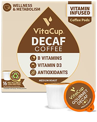 VitaCup Decaf Coffee Pods, Medium Roast w/ Resveratrol, B Vitamins, D3 for Wellness & Metabolism in Single Serve Pods Compatible with Keurig K-Cup Brewers, 16 Count