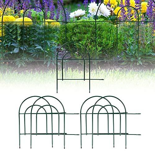 Cikonielf 5 Stück Deko-Zaun Gartenzaun Beetumrandung aus Metall Zaunpaneele 447 x 47 cm