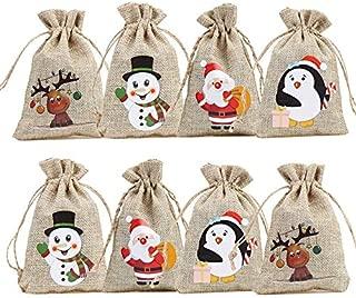 FINGOOO 36 PCS Christmas Burlap Bags Treat Bags with Snowman, Santa,Elk and Penguin for Party Favors