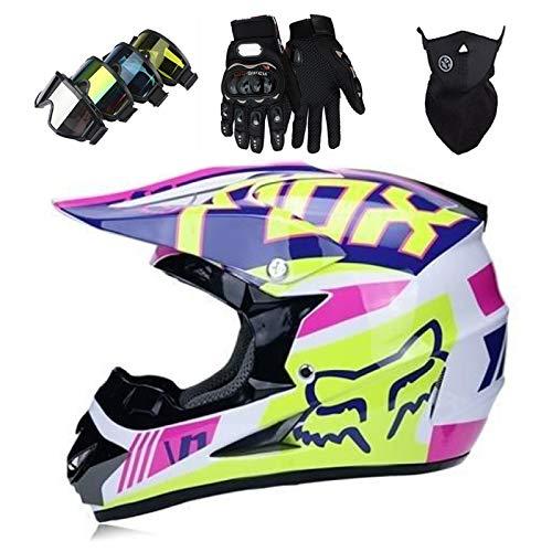 Cascos Integrales Infantil XXXXXXXX con Guantes Gafas Máscara, Aprobado DOT Conjunto Casco Motocross Motocicleta Adultos Casco protector Offroad Dirt Bike con Diseño FOX
