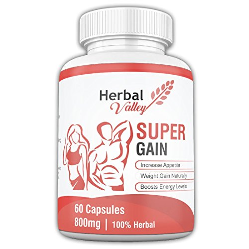 HerbalValley Super Weight Gain Natural Capsules for Men and Women, 60 Caps - Pack of 1