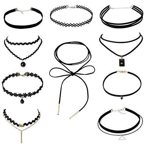 Lot de 10 colliers ras du cou en velours avec ruban style gothique et dentelle