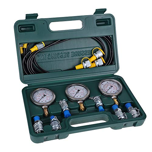 Tonysa Bagger Hydraulik Druck Test Kit, Bagger Hydraulikdruckprüfset, Druckmessgerät Hydraulisches Druckprüfgerät mit Prüfschlauch/Kupplung/Manometer
