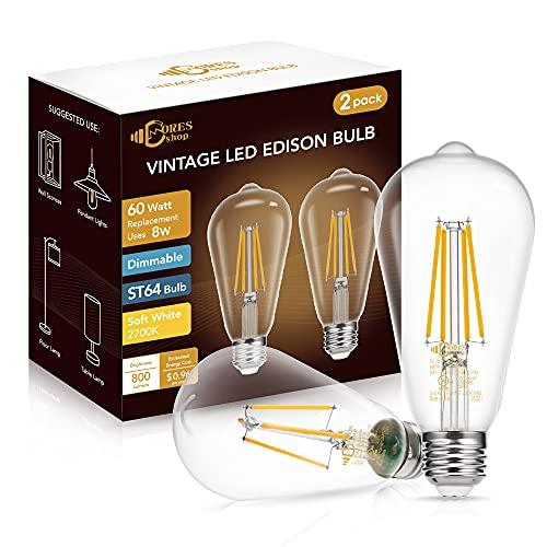 DORESshop ST64 Dimmable LED Edison Bulbs, 8W(60W...