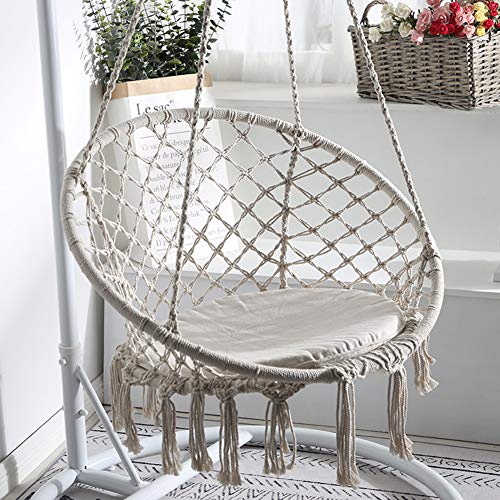 Swing&Hanging Chair with Hanging Kits, Cotton Rope Macrame Swing Chair, Comfortable Sturdy Hanging Chairs, for Indoor Outdoor, Living Room, Bedroom, Terrace, Balcony, Garden, Holds up to 120 kg