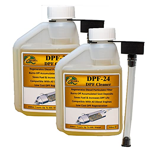 HYDRA DPF-24 DPF Cleaner DPF Filter Cleaning Diesel Particulate Filter Cleaner with DPF Cleaner Fluid for Reduced DPF Cleaner Cost Easy To Use Fuel Additive, 2x 250ml treats up to 120L